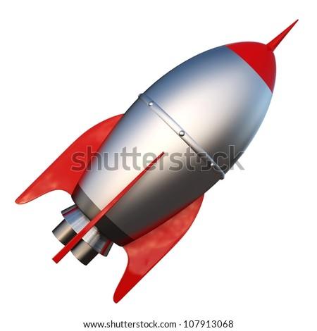 3D illustration of cartoon rocket over white background - stock photo