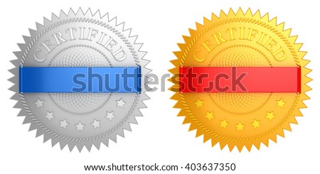 3D Illustration of Certified Golden & Silver Labels - stock photo