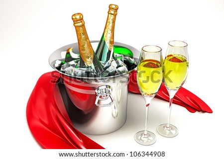 3d illustration of champagne glass and bottle in bucket with silk cloth - stock photo