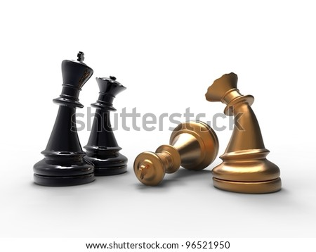 3d illustration of chess pieces with a dead king on white background - stock photo