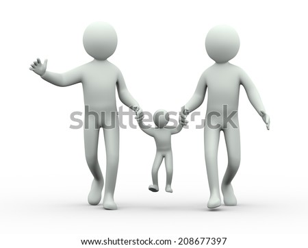 3d illustration of child hanging in the air between parents hand.  3d rendering of people - human character.