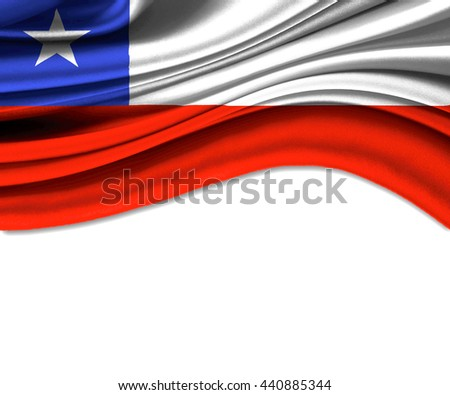 3D illustration of Chile fabric waving of flag. - stock photo