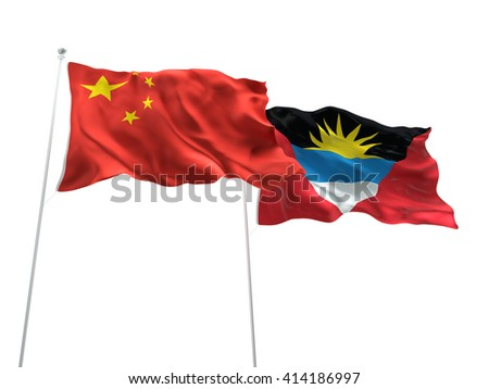 3D illustration of China & Antigua and Barbuda Flags are waving on the isolated white background