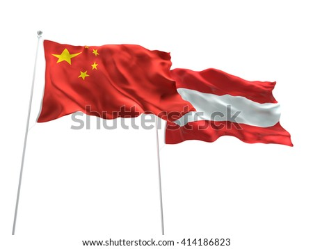 3D illustration of China & Austria Flags are waving on the isolated white background