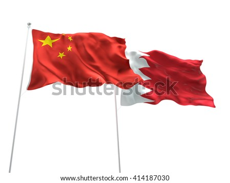 3D illustration of China & Bahrain Flags are waving on the isolated white background