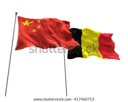 3D illustration of China & Belgium Flags are waving on the isolated white background