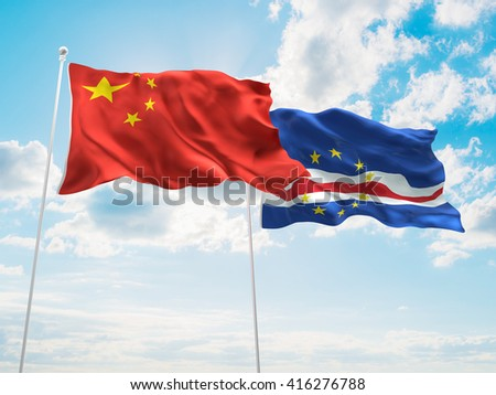 3D illustration of China & Cape Verde Flags are waving in the sky