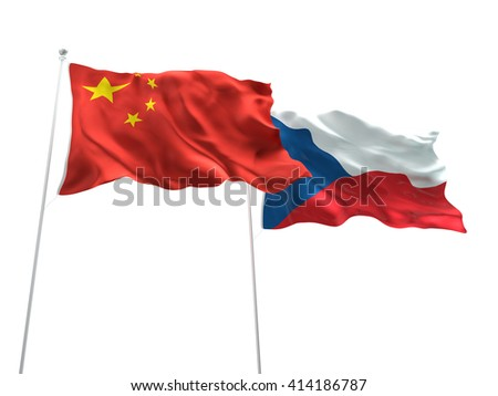 3D illustration of China & Czech Republic Flags are waving on the isolated white background