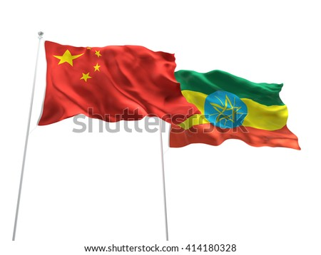 3D illustration of China & Ethiopia Flags are waving on the isolated white background - stock photo