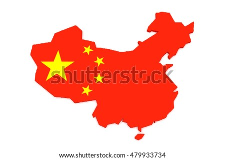 3d Illustration of China Flag Map Isolated On White Background
