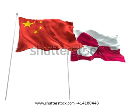3D illustration of China & Greenland Flags are waving on the isolated white background