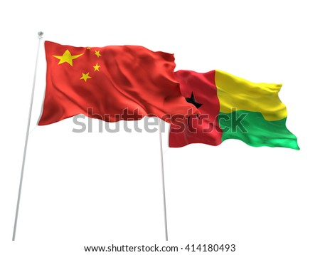 3D illustration of China & Guinea Bissau Flags are waving on the isolated white background
