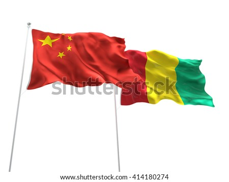 3D illustration of China & Guinea Flags are waving on the isolated white background