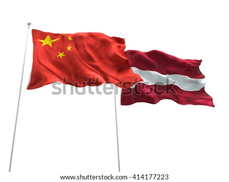 3D illustration of China & Latvia Flags are waving on the isolated white background