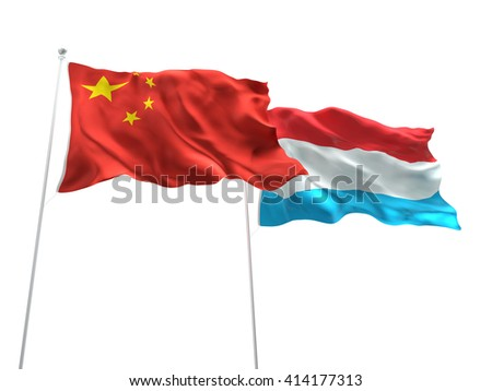 3D illustration of China & Luxembourg Flags are waving on the isolated white background