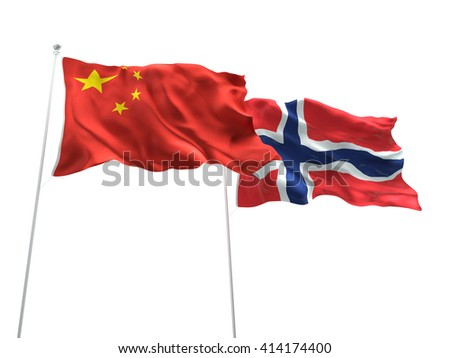 3D illustration of China & Norway Flags are waving on the isolated white background - stock photo