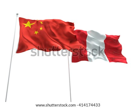 3D illustration of China & Peru Flags are waving on the isolated white background