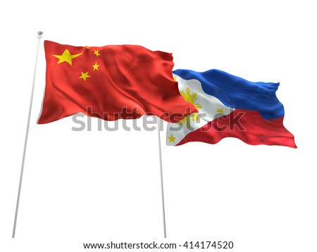 3D illustration of China & Philippines Flags are waving on the isolated white background