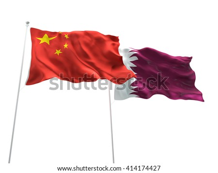 3D illustration of China & Qatar Flags are waving on the isolated white background