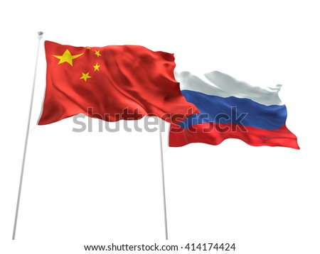 3D illustration of China & Russia Flags are waving on the isolated white background