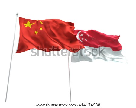 3D illustration of China & Singapore Flags are waving on the isolated white background