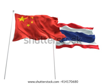 3D illustration of China & Thailand Flags are waving on the isolated white background