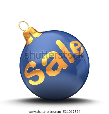 3d illustration of Christmas ball dark blue over white background with sale sign