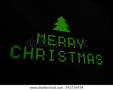 3D illustration of christmas digital card. Merry christmas with tree on digital screen.