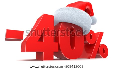 3d illustration of Christmas sale 40 discount sugn