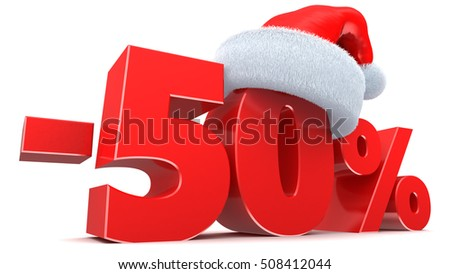 3d illustration of Christmas sale 50 percent discount