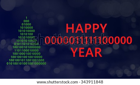 3d illustration of christmas tree and sign happy 2016 year write with binary code - stock photo