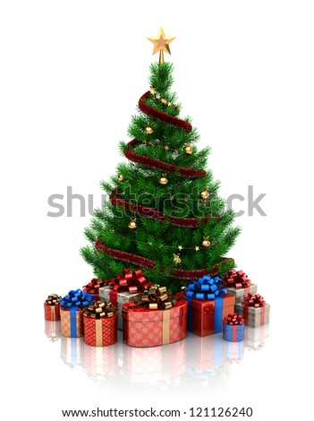3d illustration of christmas tree over white background - stock photo