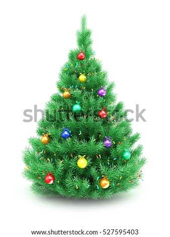 3d illustration of Christmas tree over white background with lights and glass balls