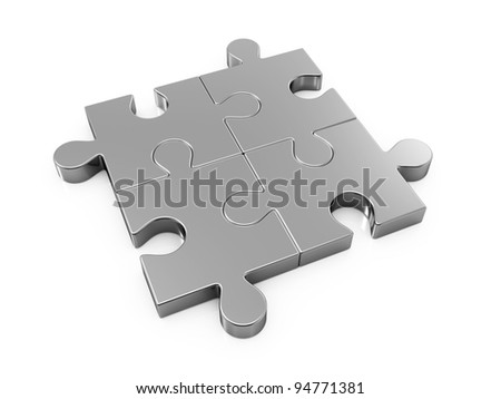 3d illustration of chrome puzzle concept isolated on white - stock photo