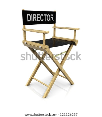 3d illustration of cinema director chair over white background