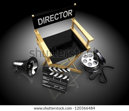 3d illustration of cinema making equipment, over  black background - stock photo