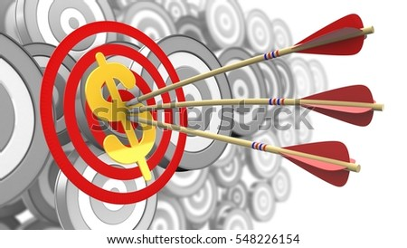 3d illustration of circles target with arrows and dollar sign over many targets background
