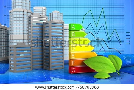 3d illustration of city buildings with urban scene over graph background