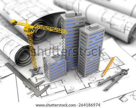 3d illustration of city construction and planning concept - stock photo