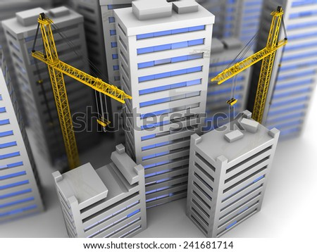 3d illustration of city landscape and two cranes - stock photo
