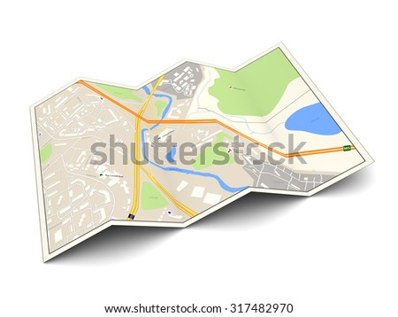 3d illustration of city map over white background - stock photo