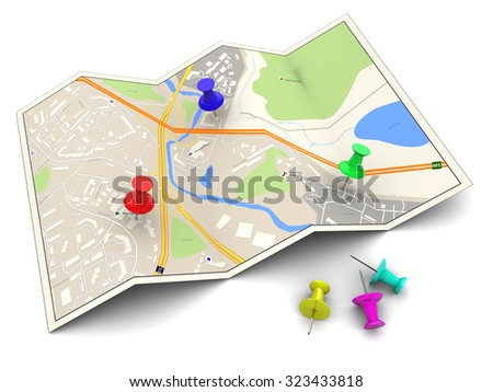 3d illustration of city map with colorful pins - stock photo