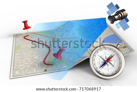 3d illustration of city map with pins and route and compass