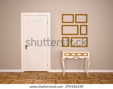 3D illustration of Classic interior of a room with door and tab - stock photo