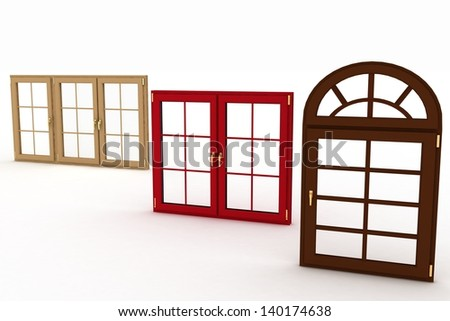 3d illustration of closed plastic windows on white background