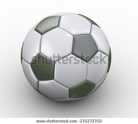 3d illustration of closeup of classic soccer football - stock photo