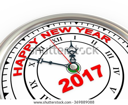 3d illustration of closeup of new year 2017 clock