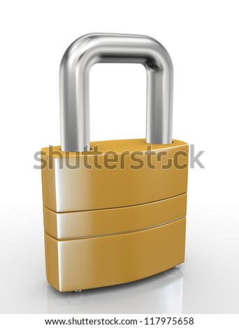 3d illustration of closeup of padlock on white background - stock photo