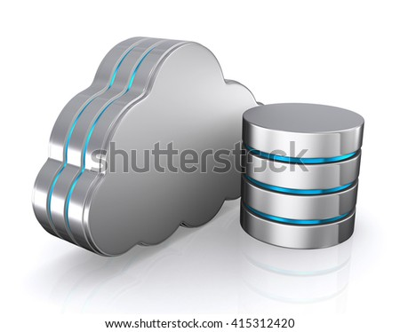 3D illustration of cloud icon, database concept-cloud computing.