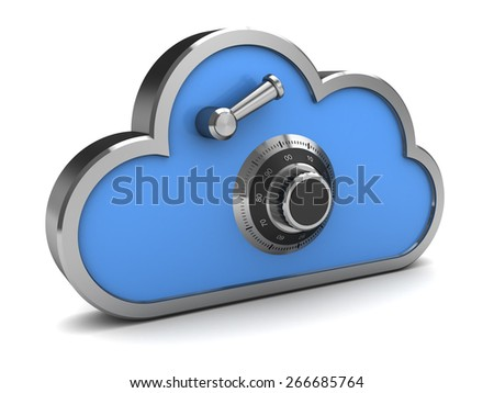 3d illustration of cloud storage icon, protected with combination lock